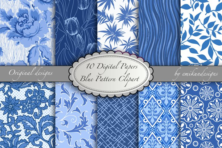 Blue Scrapbooking digital paper and clipart