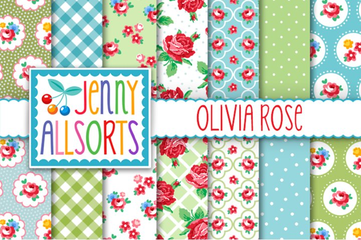 Shabby Chic Rose Papers - Blue & Green - Olivia Rose