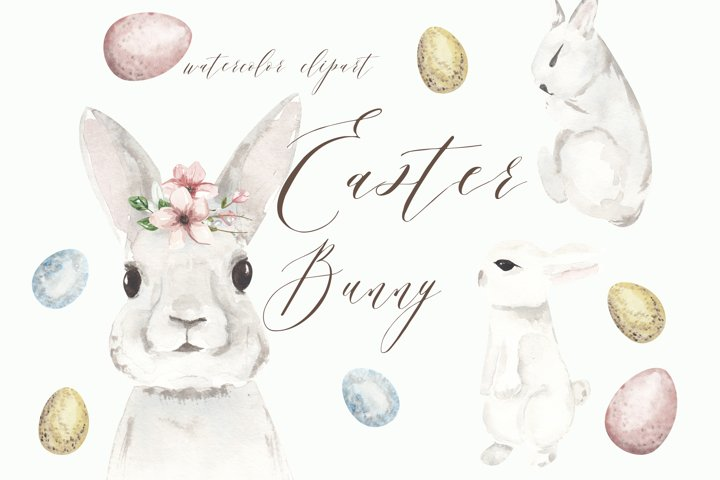 Easter bunny clipart, watercolor cute rabbit