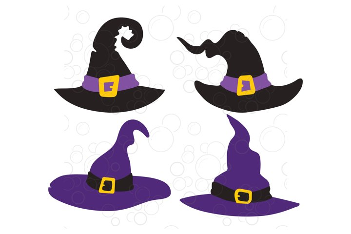 Witch Hat svg, Four Cute Witch Hats for Halloween SVG.