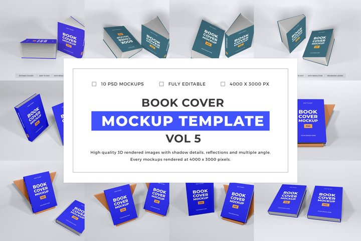 Book Cover Mockup Template Bundle Vol 5