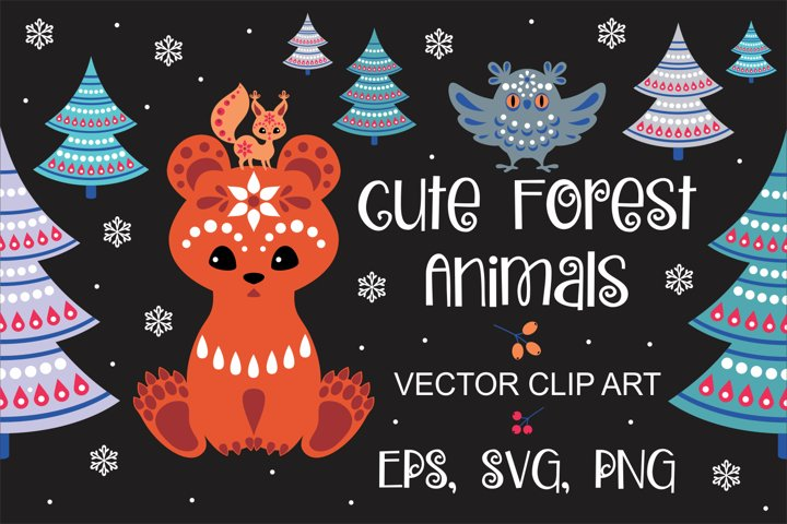 Cute forest animals in ethnic style. Christmas illustrations