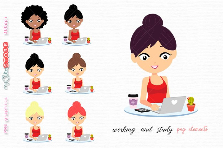 Woman working and study with a laptop png elements