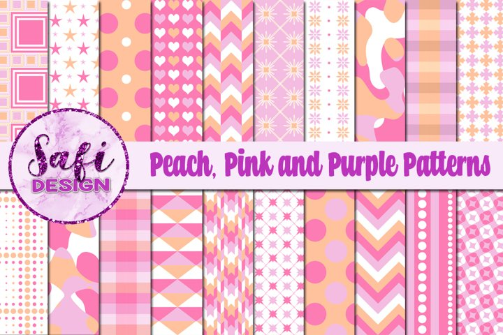 Digital Paper Backgrounds - Peach, Pink and Purple Patterns