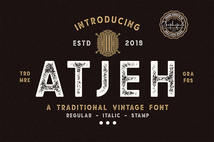 Atjeh - A Traditional Vintage Font | 4 Font Files