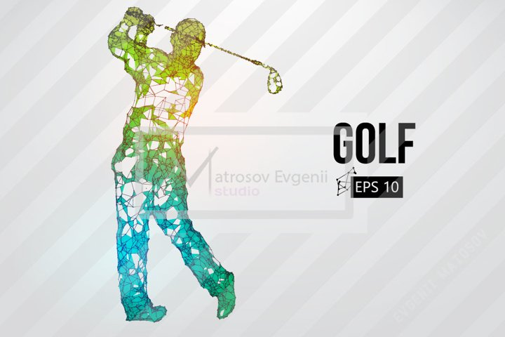Silhouette of a golf player AI, EPS, PNG