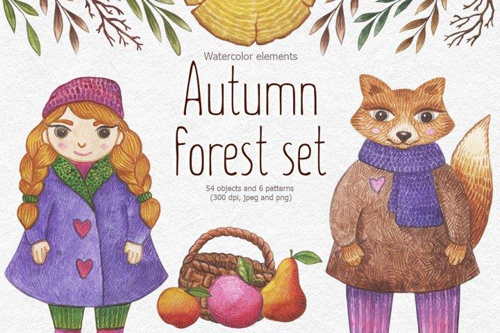 Watercolor autumn forest set