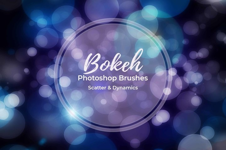 15 Bokeh Photoshop Brushes abr. - Scatter & Dynamics example
