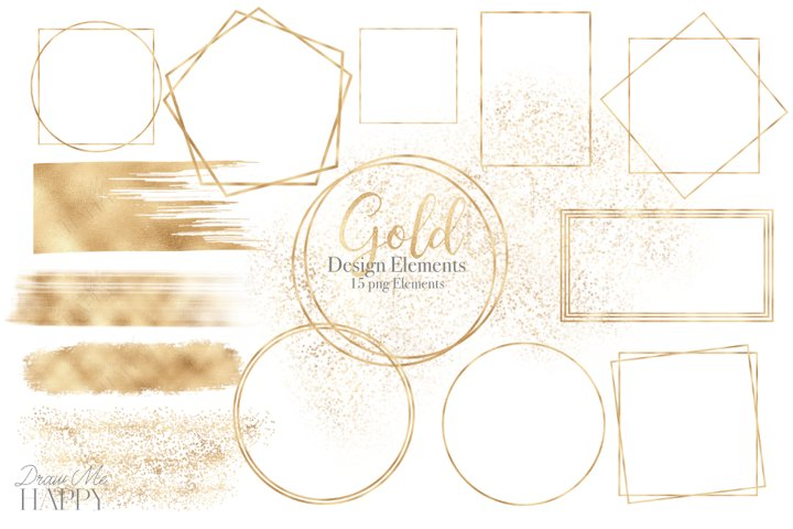 Gold Designs, Gold Frame, Gold Brush strokes, Gold Glitter