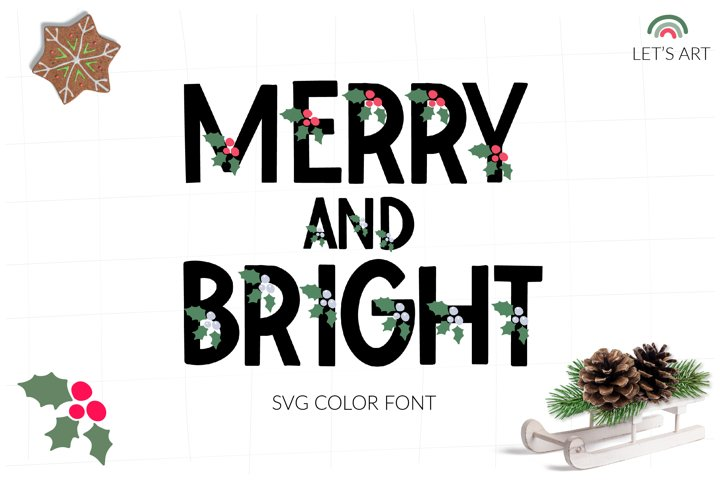 Christmas svg color font, New year svg color font