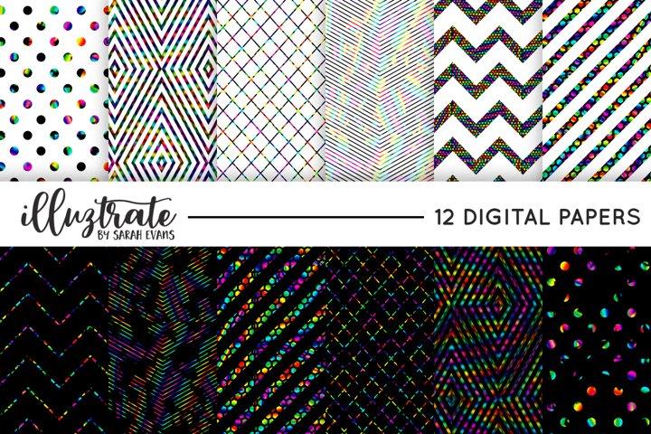 Metallic Rainbow Foil Patterns - Simple, Stylish Digital pap