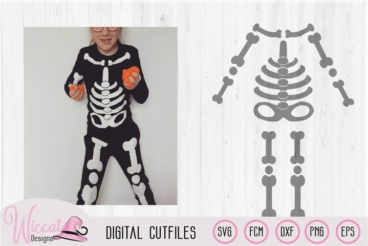 Halloween Kids skeleton costume cut file