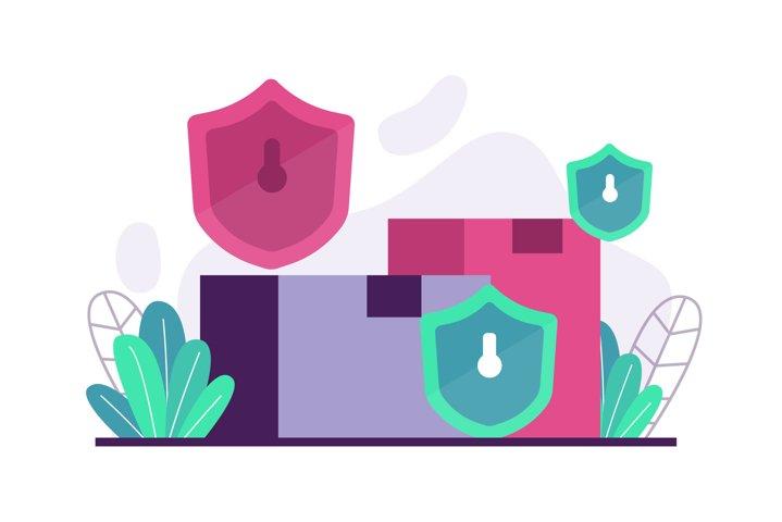 Security & backup flat illustration