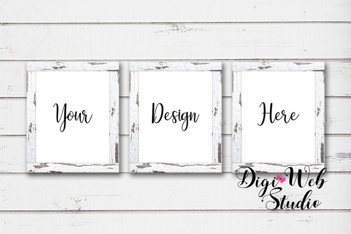 3 Wood Signs Mockup - 3 White Distressed Wood Frames