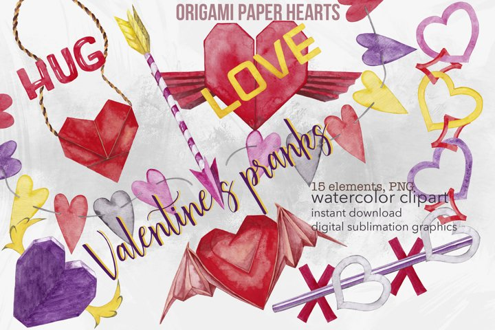 Watercolor Valentines Day clipart Winged origami heart PNG
