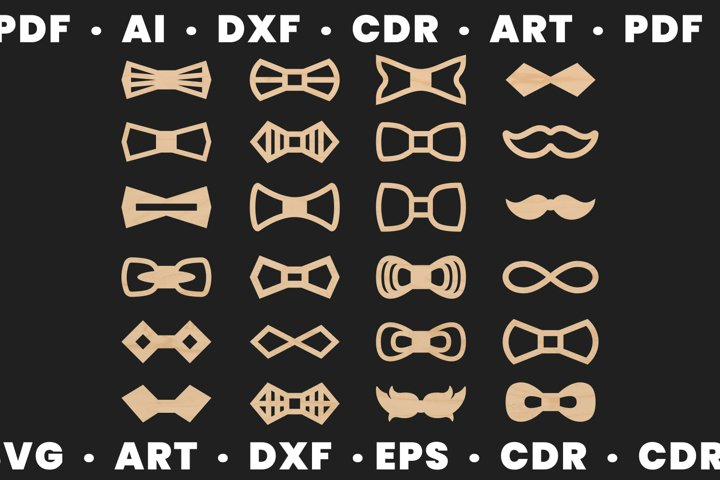 Wood bow tie svg for man and woman, Dxf files for Cnc files