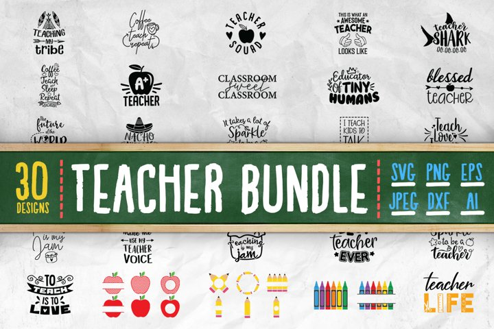 30 Different Teacher SVG Cut Files Bundle