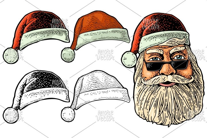 Santa Claus in hat. Front view. Vector vintage engraving