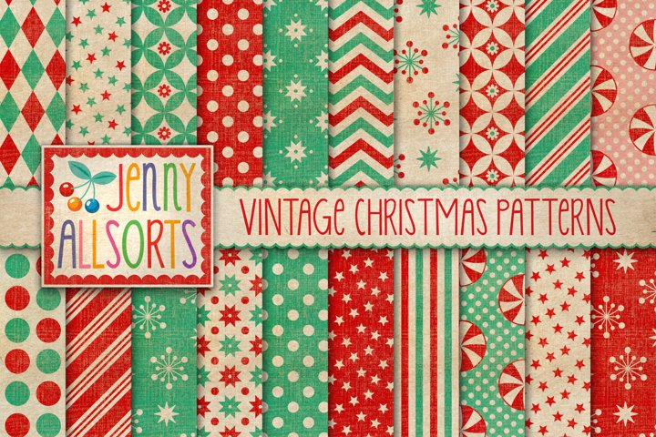 Vintage Texture Christmas Patterns, digital holiday papers