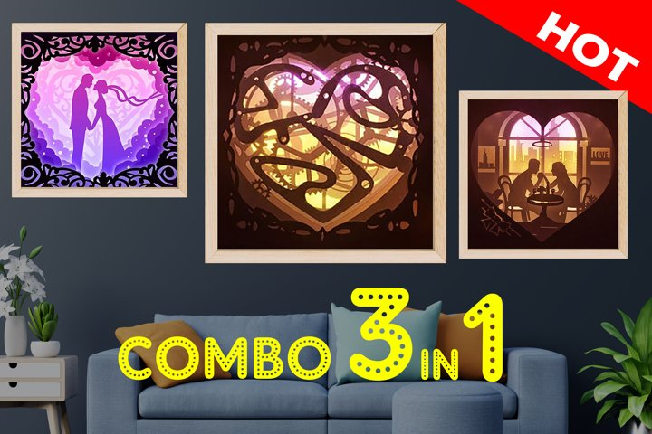 COMBO Love Templates 3D paper cut lightbox shadow box