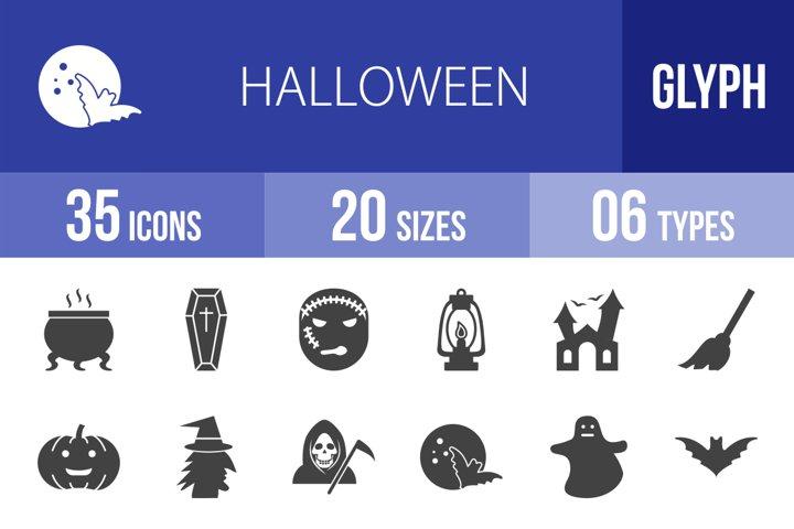 35 Halloween Glyph Icons Season II