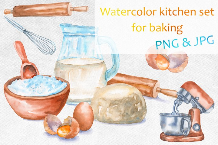 Watercolor kitchen set for baking