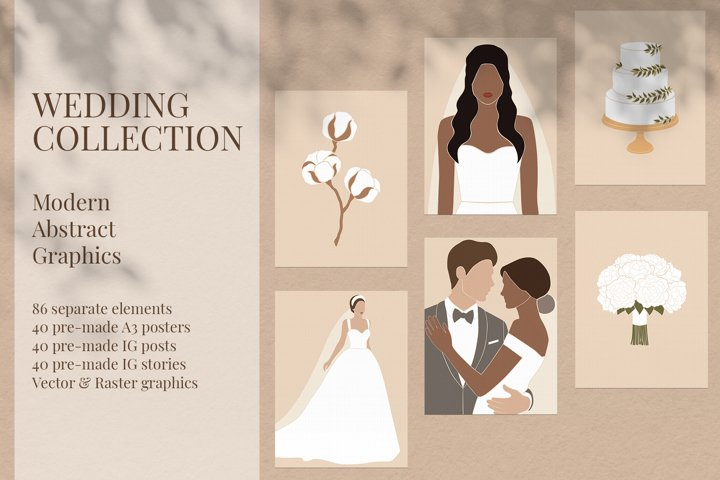 Wedding Collection. Modern Abstract Graphics.