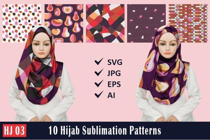 HJ 03, 10 Hijab Sublimation Patterns
