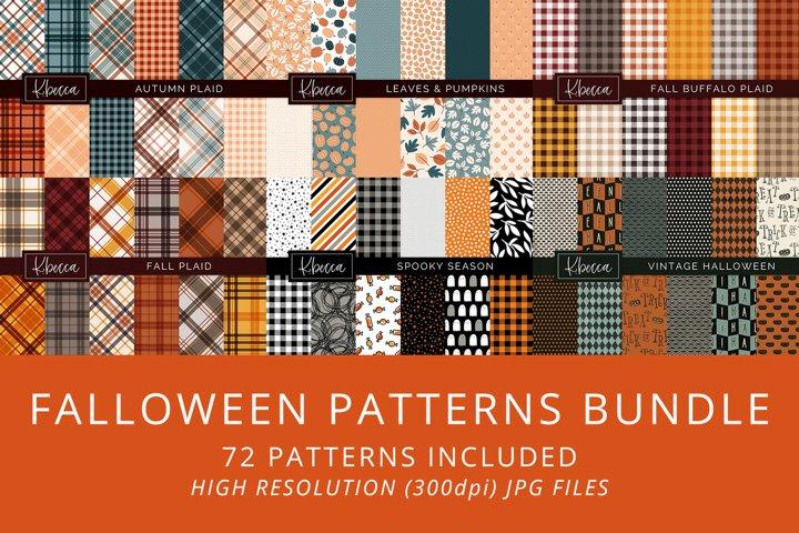 Falloween Fall & Halloween Backgrounds Patterns Bundle