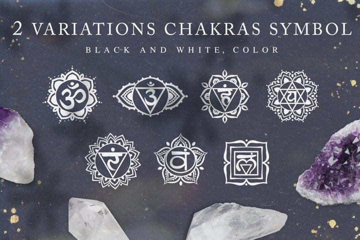 Chakra sybmols. Mandala set, Yoga, boho style.2 variatio