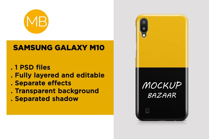 Samsung Galaxy M10 3d Phone Case Mockup Back View