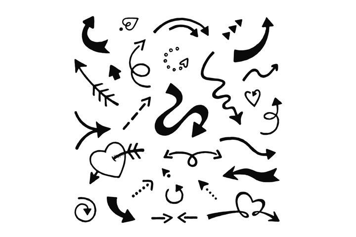 Doodle arrows set. Sketch arrows, hand drawn curve pointer i