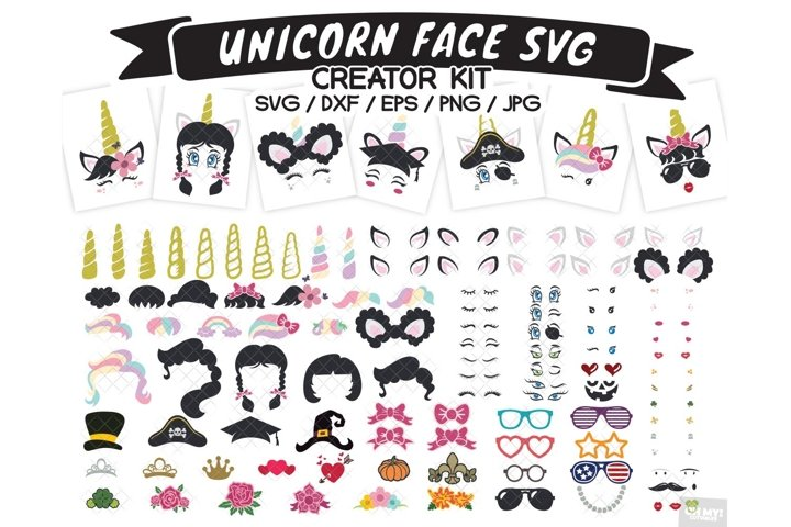 Unicorn Face SVG Creator Kit with DXF, EPS, PNG, JPG