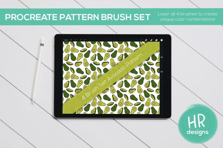 Procreate Pattern Brush Set - Avocado