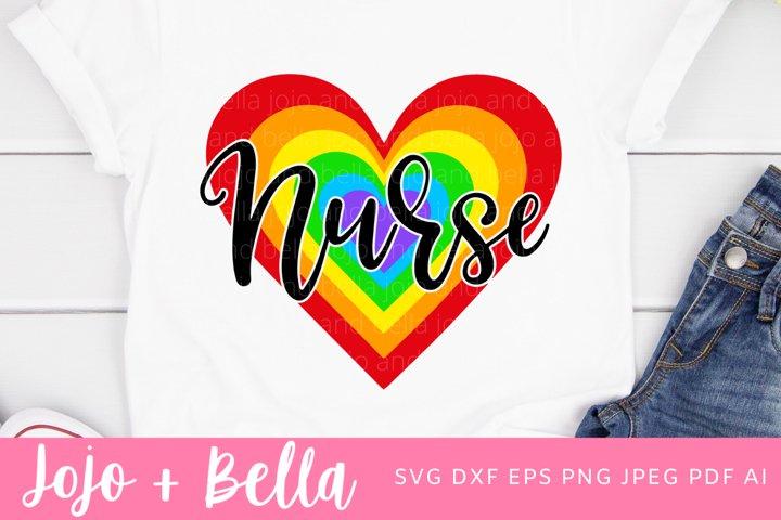 Nurse Svg | Rainbow Heart Svg