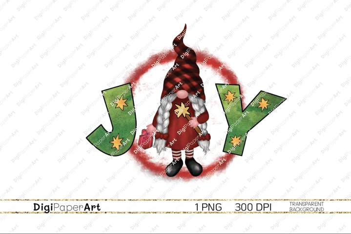Christmas Joy PNG, Girl Gnome, Sublimation Design