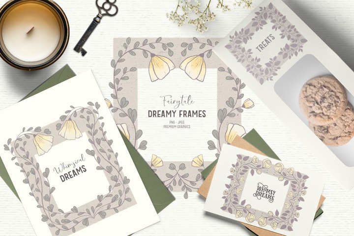 Hand-drawn vintage flower clipart | Fall frame clipart