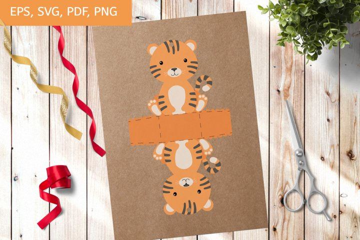 Cute Gift Package Tiger Template SVG, Gift Box SVG