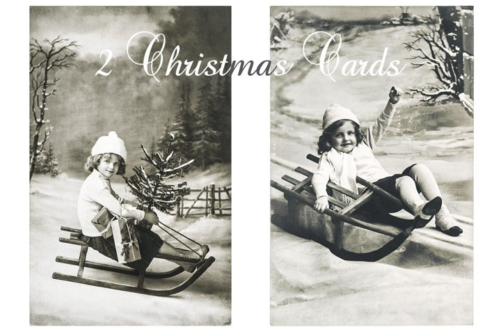 Vintage Christmas card Little girl gifts Christmas tree