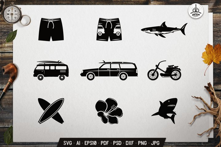 Surfing Icons SVG Bundle Summer Silhouette Graphic DXF PNG