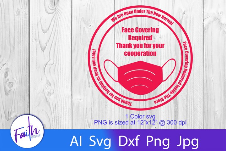 New Normal Face Covering Required Sign svg cut file