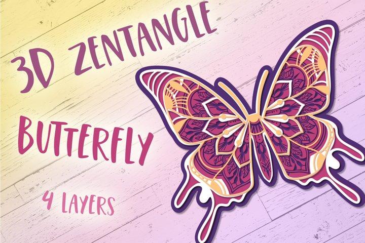 3D Zentangle Butterfly | 3D Papercut SVG