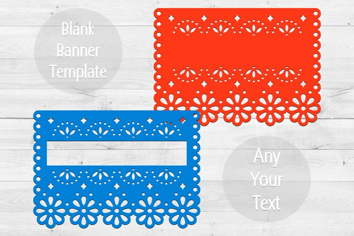 2 SVG blank banners templates, Papel picado banner