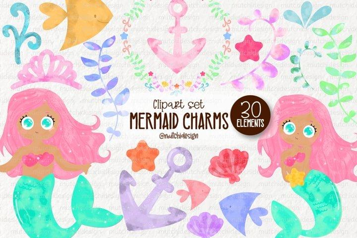 Brown Watercolor Mermaid Cliparts