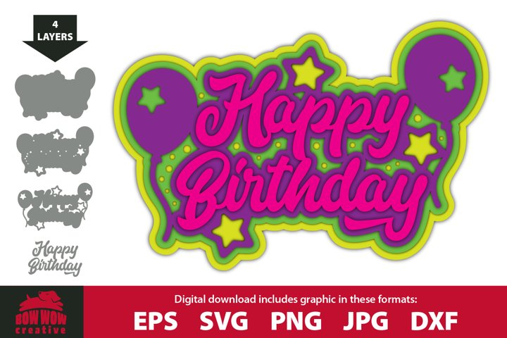 3D Layered Happy Birthday - SVG, EPS, JPG, PNG & DXF file
