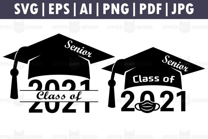 Senior 2021 Mask SVG Bundle, Graduation Cake Topper