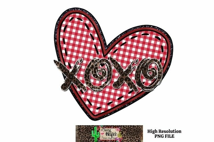 Valentines Day Heart XOXO Leopard Dye Sublimation PNG