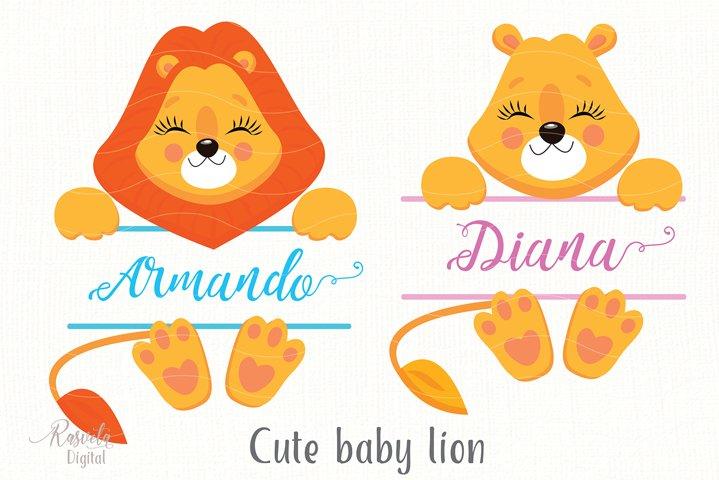 Cartoon Cute Little Animal Lion Clipart 6