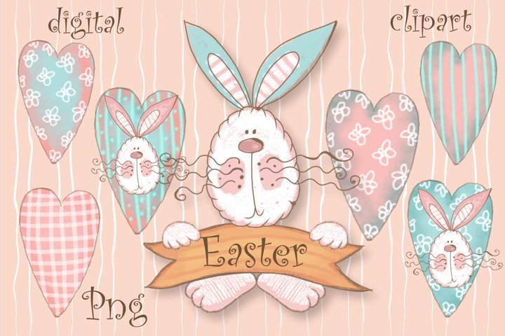 Happy Easter Png. Easter Bunny Png Digital Clipart