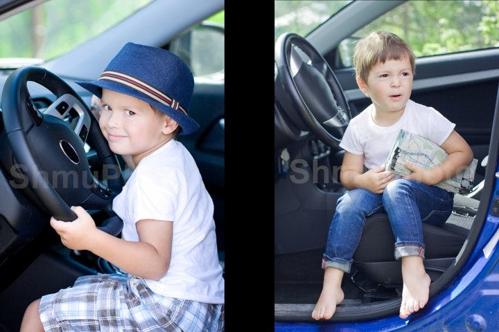Cute small driver. Smilng boy sits in car